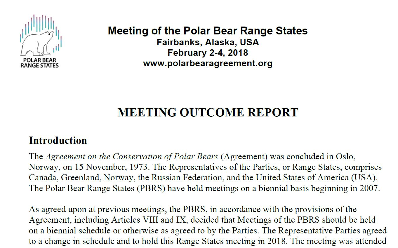 2018 Polar Bear Range States Meeting Outcome Report Fairbanks Alaska