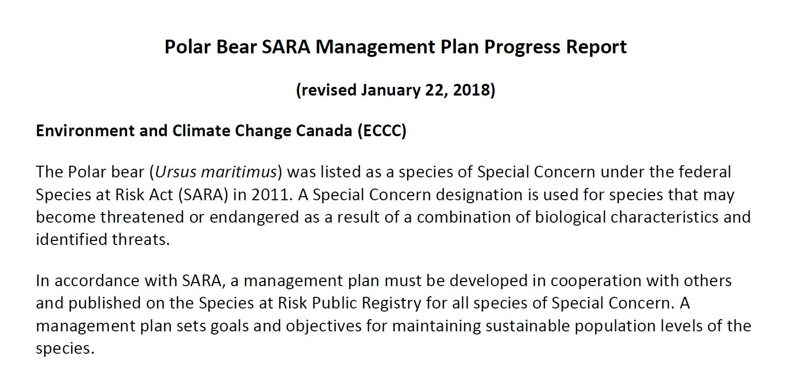 Polar Bear SARA Management Plan Progress Report. Jan2018